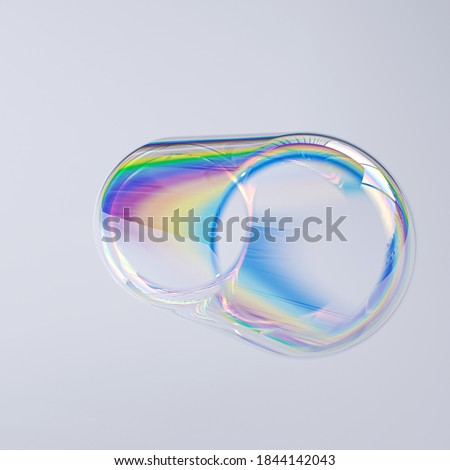 Abstract geometric 3d shape thin film effect, holographic spectral gradient texture, minimalist colorful art element isolated 3d rendering Stockfoto ©