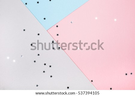 Abstract geometric festive background with stars. Blue, pink and gray trend colors #537394105