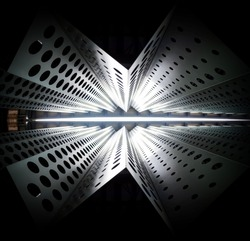 Abstract geometric metal building structure