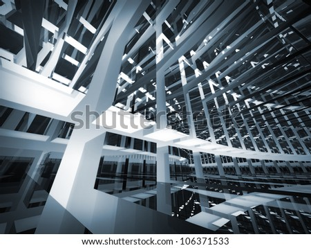 Abstract geometric monochrome background pattern of turning futuristic tunnel with lights and reflections. 3d render illustration.