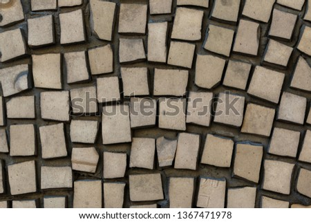 Abstract geometric mosaic with pale yellow tiles. vintage ethnic mosaics texture #1367471978
