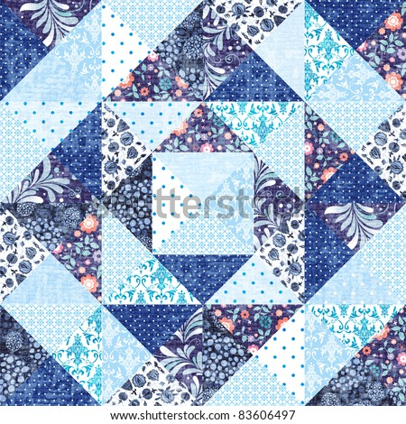 Abstract geometric patchwork handmade background in blue