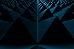 Abstract geometric pattern dark blue volumetric polygonal pattern from soundproofing wall.Blue volumetric polygonal pattern. Straight pyramids, triangles shape, forming abstract lines. Infinite path.