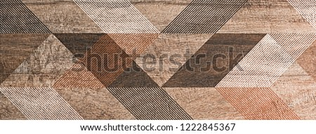 abstract geometric pattern with ornamental mosaic, modern decorative ceramic tile #1222845367