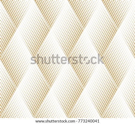 Abstract geometric pattern with points, rhombuses. A seamless  background. White and gold texture. Graphic modern pattern.
