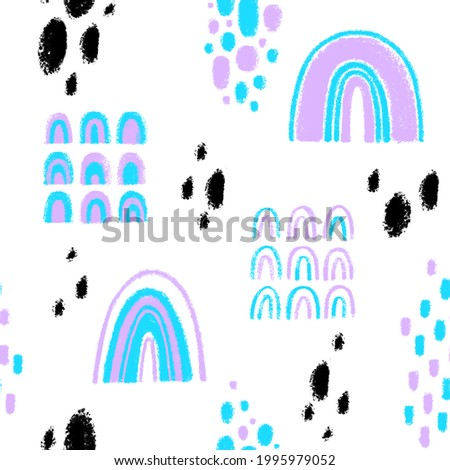 Abstract geometric rainbow pattern Abstract pastel childish set of objects Abstract cute hand drawn rainbow elements Pastel rainbow texture shape design Seamless pattern of colored childish spots Photo stock ©