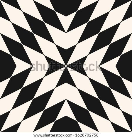 Abstract geometric seamless pattern. Raster texture with diamond shapes, triangles, repeat tiles. Simple background in tribal ethnic style. Black and white color. Repeated design for decor, print