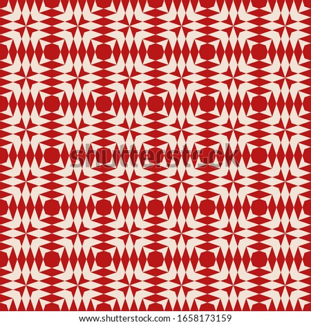 Abstract geometric seamless pattern. Raster texture with diamond shapes, triangles, repeat tiles. Simple background in tribal ethnic style. Maroon and beige color. Repeated design for decor, fabric