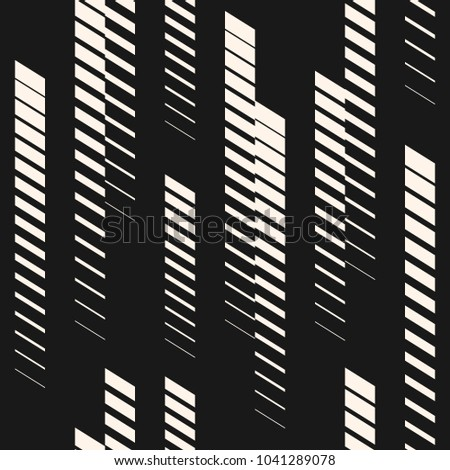 Abstract geometric seamless pattern with vertical fading lines, tracks, halftone stripes. Extreme sport style illustration, creative urban art. Modern trendy black and white graphic background texture