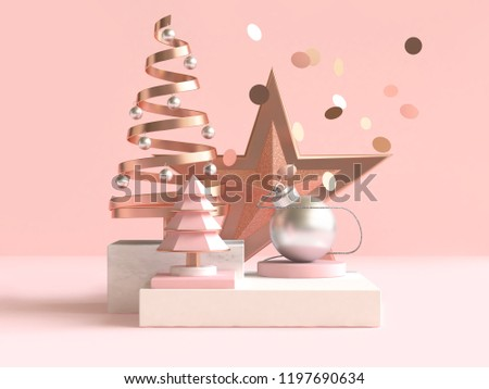 abstract geometric shape christmas concept decoration 3d rendering
