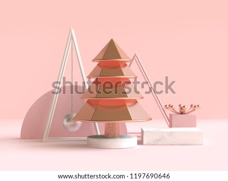 abstract geometric shape christmas tree concept decoration 3d rendering