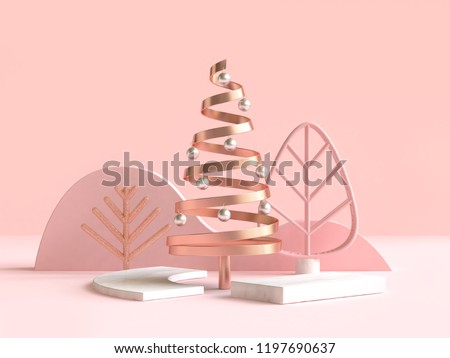 abstract geometric shape christmas tree scene concept decoration 3d rendering