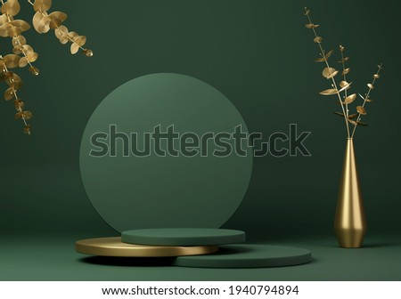 Abstract geometric shape dark green color minimalistic scene with podium, vase and gold flowers. Design for cosmetic or product identity and packaging display background. 3d render.