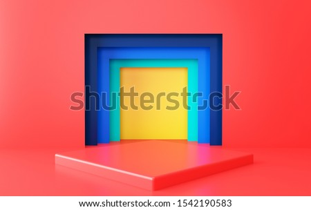 Abstract geometric shape group set, minimal portal, 3d rendering, Scene with geometrical forms