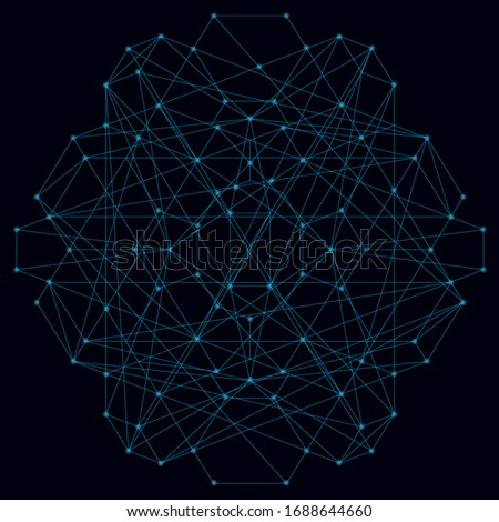 Abstract geometric shape of their blue lines on a dark background with luminous lights.