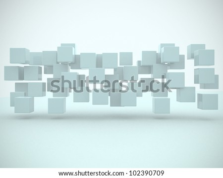 Abstract geometric shapes from cubes - This is a 3d render illustration