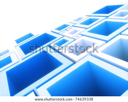 Abstract geometrical background with blue frames and copyspace - stock photo