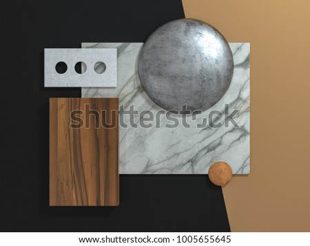 Abstract geometrical shapes texture material board 3D illustration