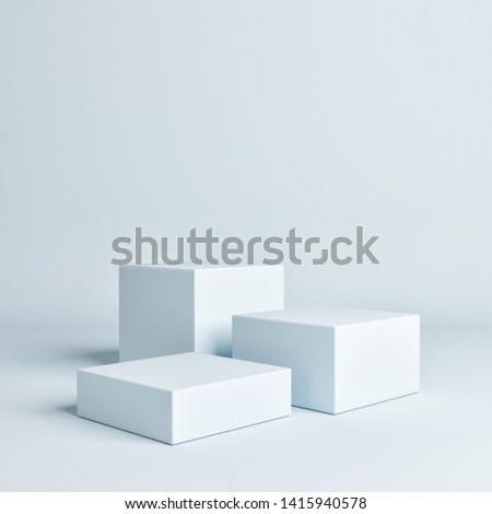 Abstract geometry blue concept winner podium, 3d  illustration