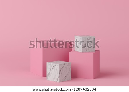 Abstract geometry shape pink color podium with marble on pink background for product. minimal concept. 3d rendering