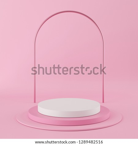Abstract geometry shape pink color podium with white color on pink background for product. minimal concept. 3d rendering