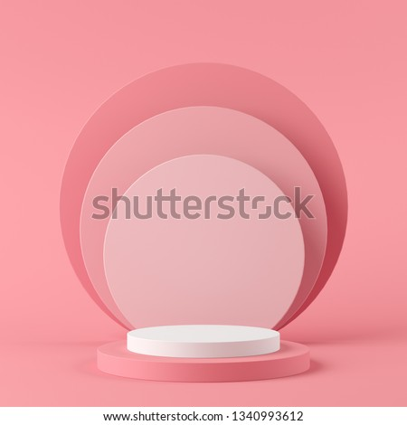 Abstract geometry shape white color and pink color podium on pink color background for product. minimal concept. 3d rendering