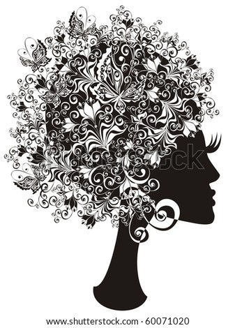 Abstract girl with flowers and butterflies in hair