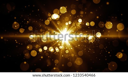 Abstract glamour background for greetings and celebration. Star burst at the center with golden shiny particles. Winner screen template.