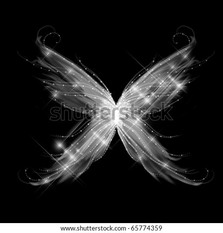 Abstract glamour butterfly on black background
