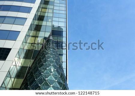 Abstract glass skyscraper and Glass wall of office buildings in the Bangkok, Thailand