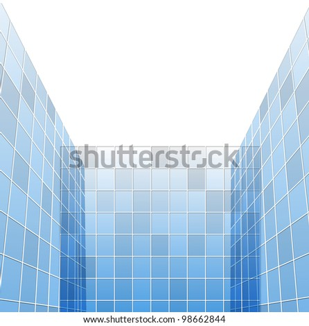 abstract glass skyscrapers, vector illlustration