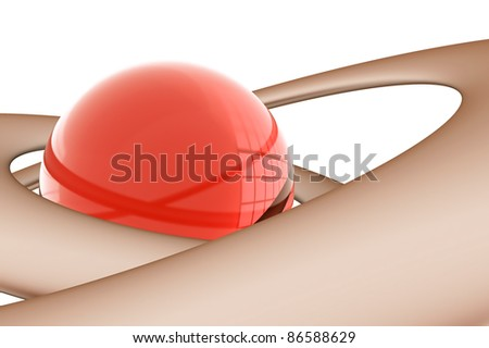 abstract glass sphere surrounded by lines on white background