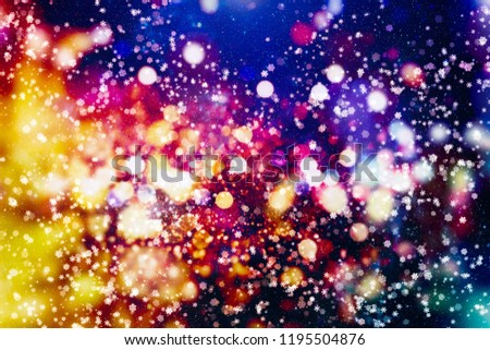 Abstract glitter lights and stars. Festive blue and white color sparkling vintage background #1195504876