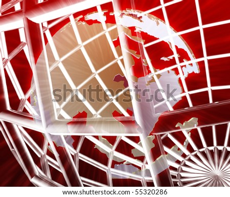 Abstract globe grid wireframe Asia world map illustration