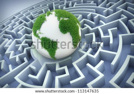 Abstract globe inside a maze - International cooperation concept.