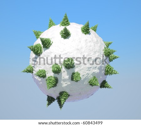 Abstract Globe with firtrees on it and blue sky. Large resolution