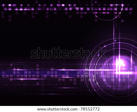 Abstract glowing background with digital symbols, raster illustration