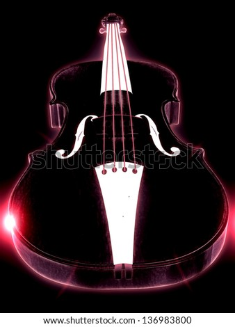 Abstract glowing 3d violin over black background.