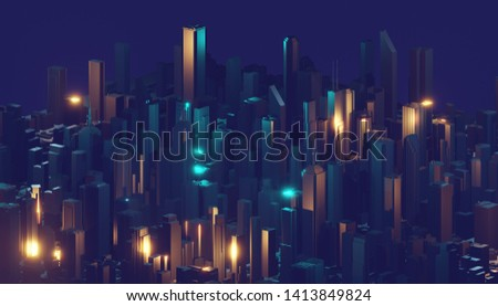 Abstract glowing digital city. Business skyscrapers. 3D Rendering.
