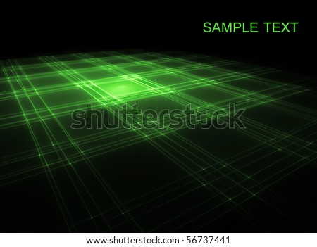 Abstract glowing green on black surface