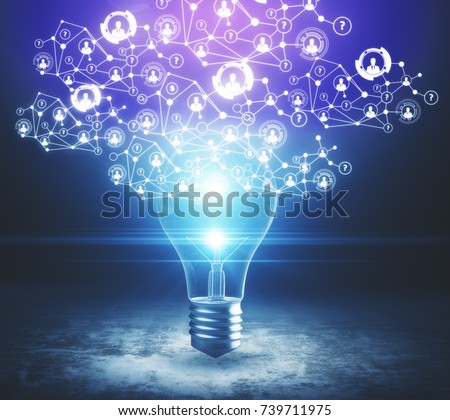 Abstract glowing light bulb on concrete background with polygonal HR network. Hiring concept. 3D Rendering