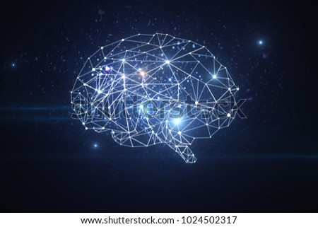 Abstract glowing polygonal brain on dark background. Artificial intelligence and future concept. 3D Rendering