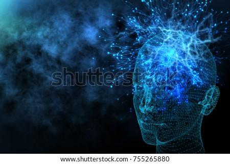 abstract glowing polygonal head ...