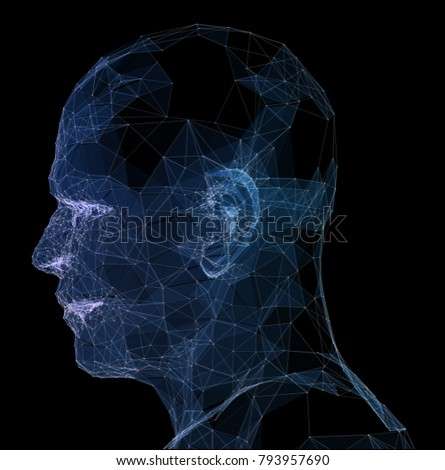 Abstract glowing polygonal head background with neurons. Artificial intelligence and network concept. 3D Rendering.