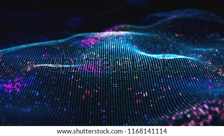 Abstract glowing virtual neural network. Futuristic coding or Artificial Intelligence concept 3d illustration