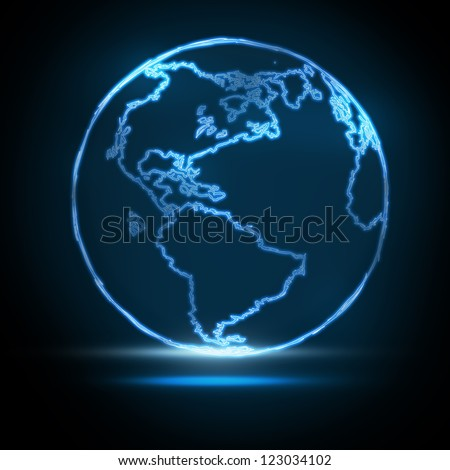 Abstract Glowing World Map on black background