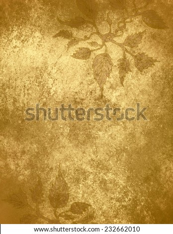 abstract gold background ivy design pattern, hand drawn vines on border of gold foil background, vintage grunge background texture, elegant Christmas wrapping paper