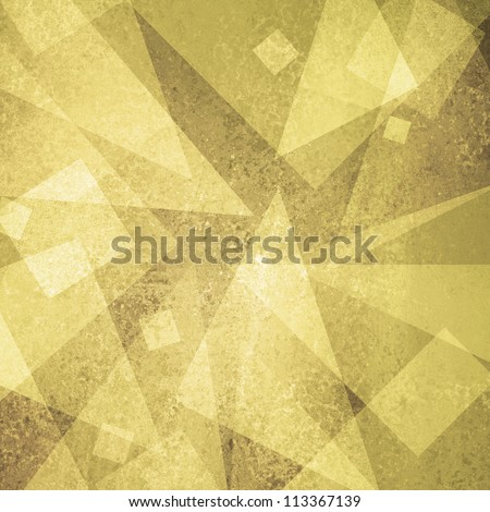 abstract gold background of white geometric triangle shapes and squares in random pattern with vintage grunge background texture brown on layout design for brochure or web template background yellow