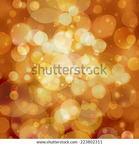 abstract gold background white bokeh lights, round shaped geometric circle background, sparkling fantasy dream background, gold Christmas background with falling snow