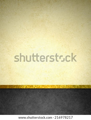 abstract gold background with black footer and gold ribbon trim border, beautiful template background layout, luxury elegant gold paper with vintage grunge background texture design